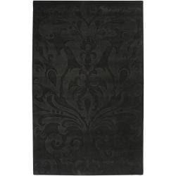 Loomed Black Hidsata Damask Pattern Wool Rug (5' x 8')