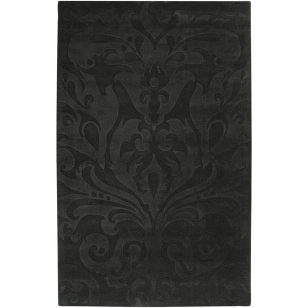 Loomed Black Hidsata Damask Pattern Wool Area Rug - 5' x 8'