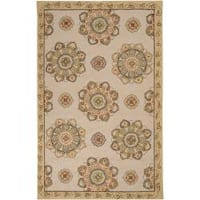 Hand-hooked Beige Atsina Indoor/Outdoor Medallion Area Rug (3' x 5')