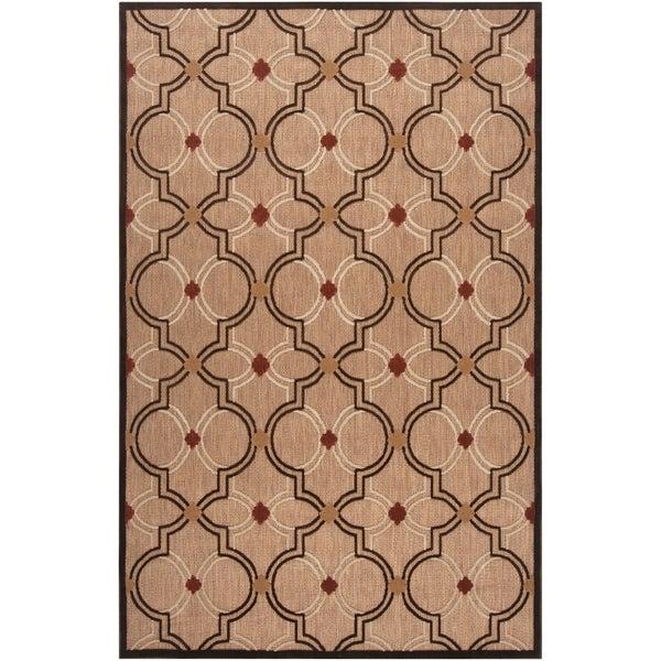 "Woven Tan Tigua Indoor/Outdoor Moroccan Lattice Area Rug - 8'8"" x 12'"