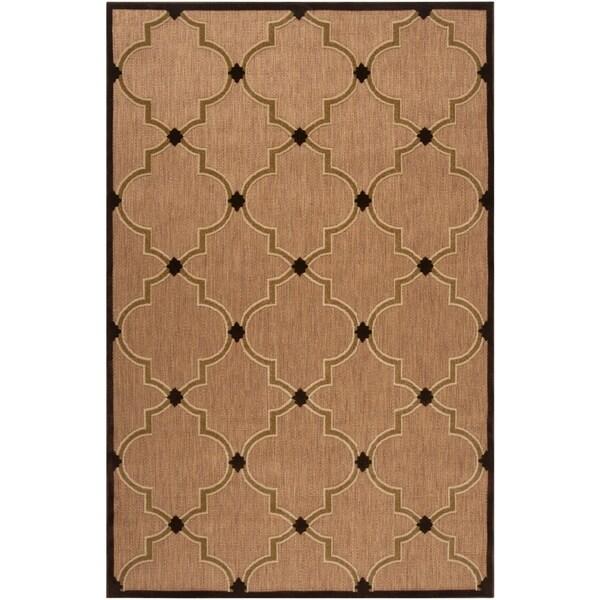 "Woven Tan Tewa Indoor/Outdoor Moroccan Lattice Area Rug - 8'8"" x 12'"