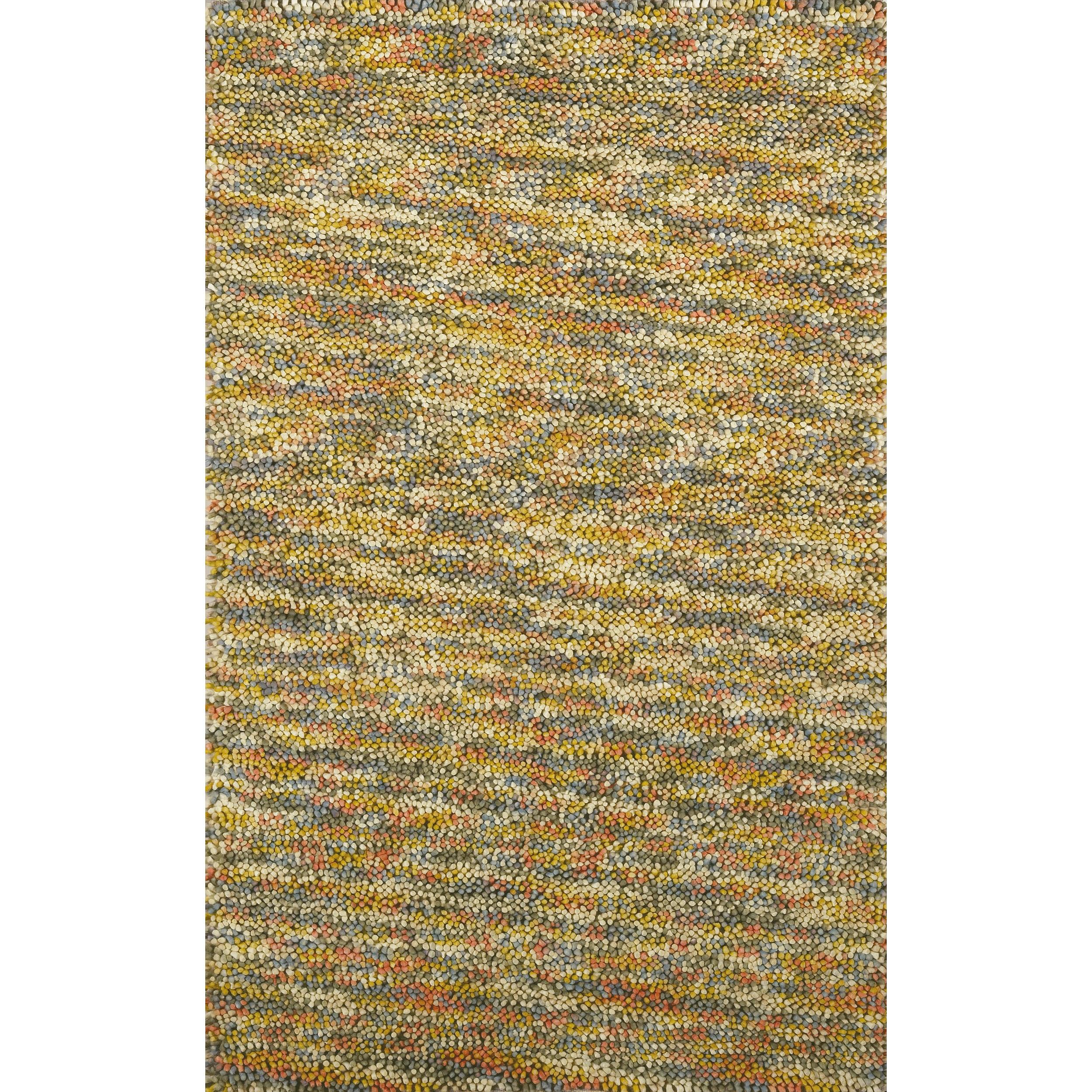 Hand-woven Multicolored Kofun Wool Rug (5' x 8')