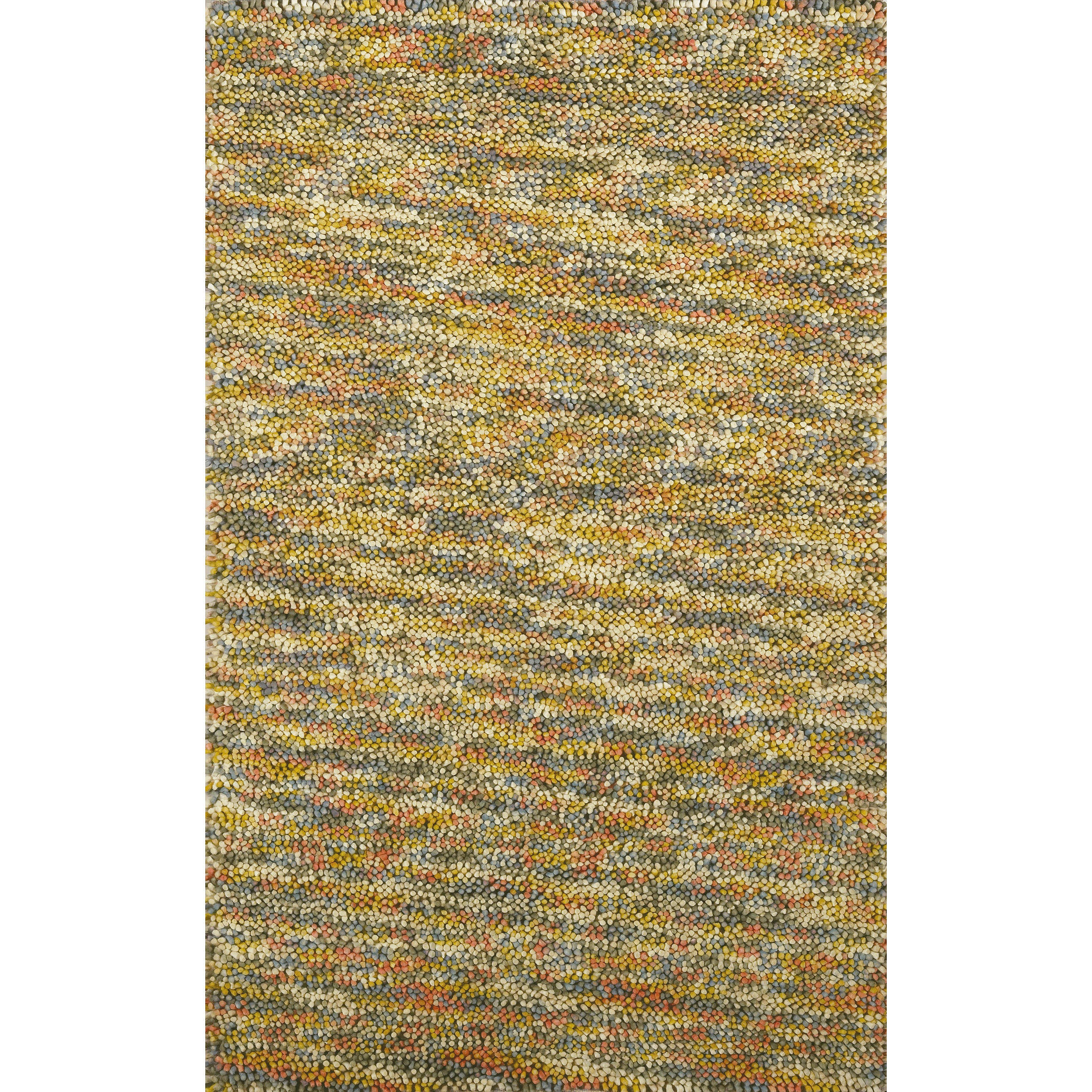 Hand-woven Multicolored Kofun Wool Rug (2' x 3')