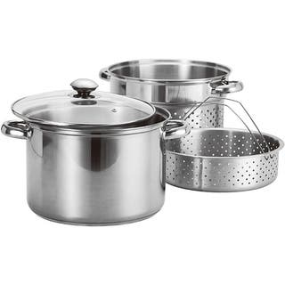 Prime Pacific 4-piece Stainless Steel Stock Pot and Pasta Steamer Set|https://ak1.ostkcdn.com/images/products/6527657/P14112247.jpg?impolicy=medium