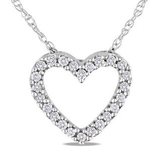 Miadora 10k White Gold 1/10ct TDW Diamond Heart Pendant