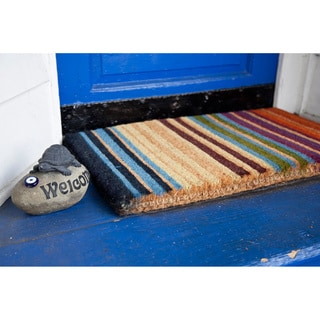 Hand-woven Extra-thick Rainbow Coir Doormat (1'6 x 2'6)