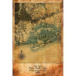 Maxwell Dickson 'Antique Map of New York City 1889' 24 x 36-inch Canvas Wall Art