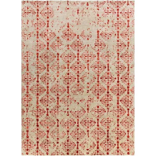 Hand-tufted Contemporary Red Accented Pointer New Zealand Wool Abstract Area Rug - 8' x 11'