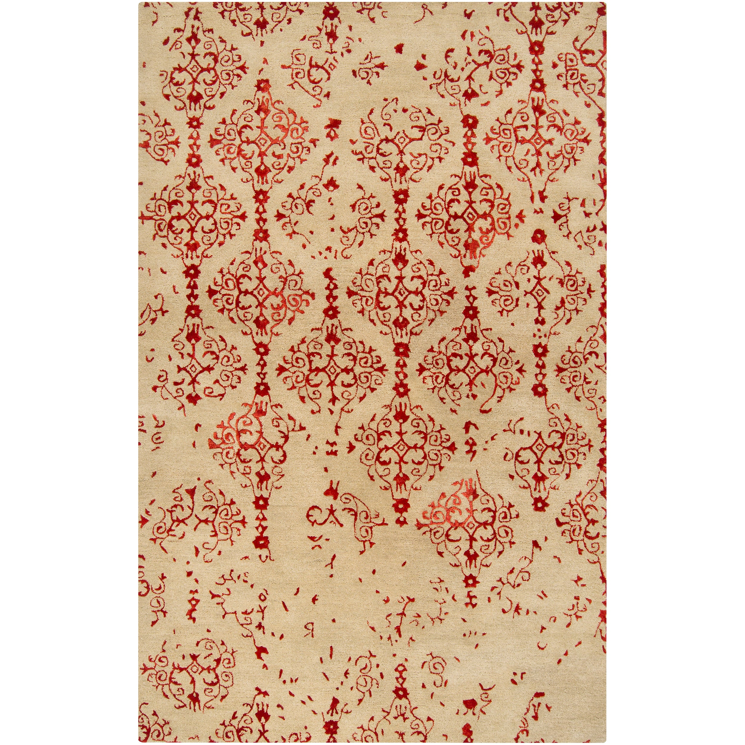 Hand-tufted Contemporary Pink Accented Pointer New Zealand Wool Abstract Rug (5' x 8')