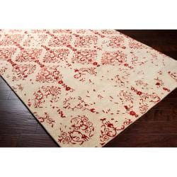 Hand-tufted Contemporary Pink Accented Pointer New Zealand Wool Abstract Rug (5' x 8') - Thumbnail 1