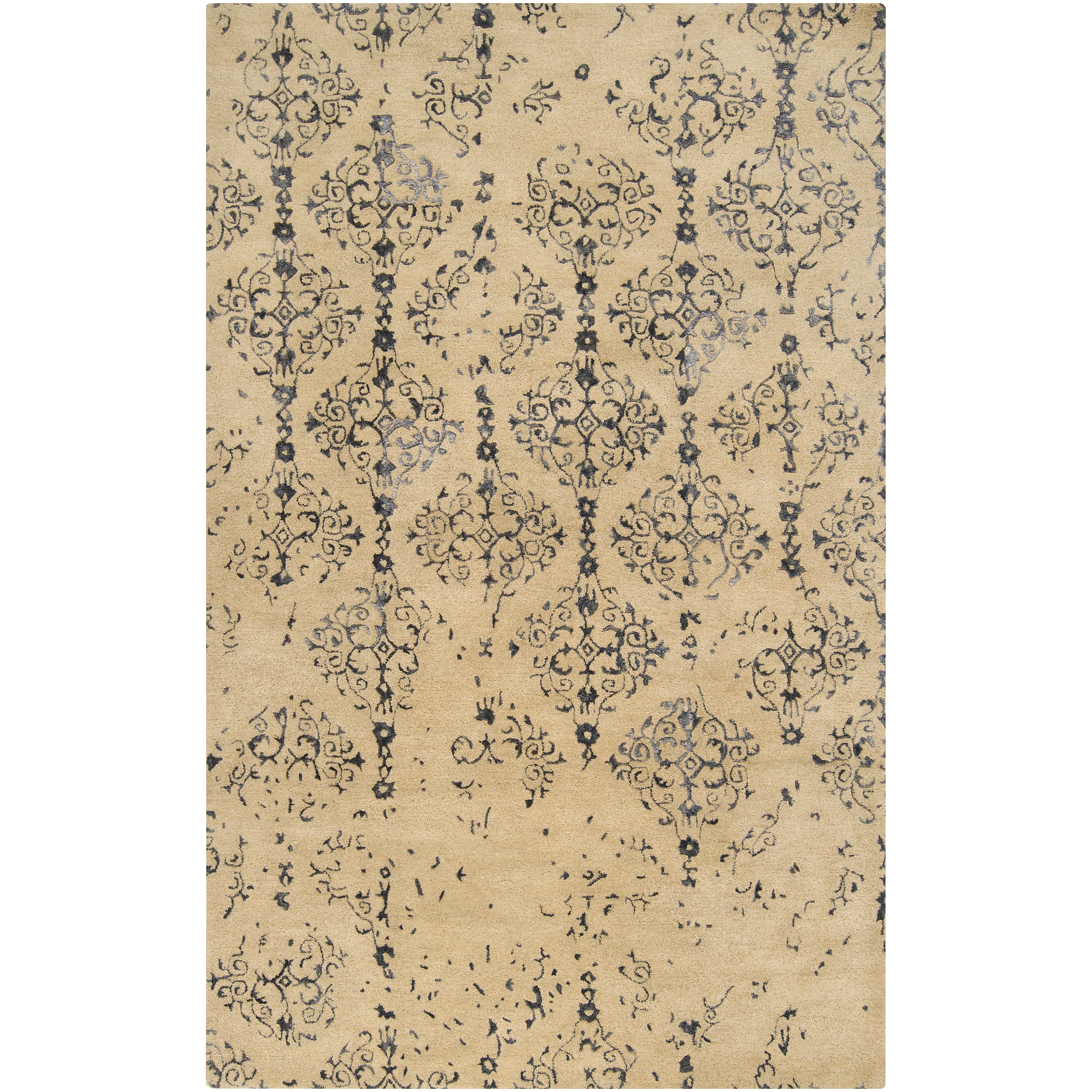 Hand-tufted Contemporary Navy Blue Accented Patterdale New Zealand Wool Abstract Rug (5' x 8')