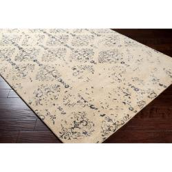 Hand-tufted Contemporary Navy Blue Accented Patterdale New Zealand Wool Abstract Rug (5' x 8') - Thumbnail 1
