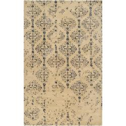 Hand-tufted Contemporary Navy Blue Accented Patterdale New Zealand Wool Abstract Area Rug (5' x 8') - 5' x 8' - Thumbnail 0