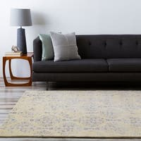 Hand-tufted Contemporary Navy Blue Accented Patterdale New Zealand Wool Abstract Area Rug - 5' x 8'