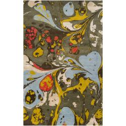 Hand-tufted Contemporary Multi Colored Perro New Zealand Wool Abstract Area Rug - 5' x 8' - Thumbnail 0