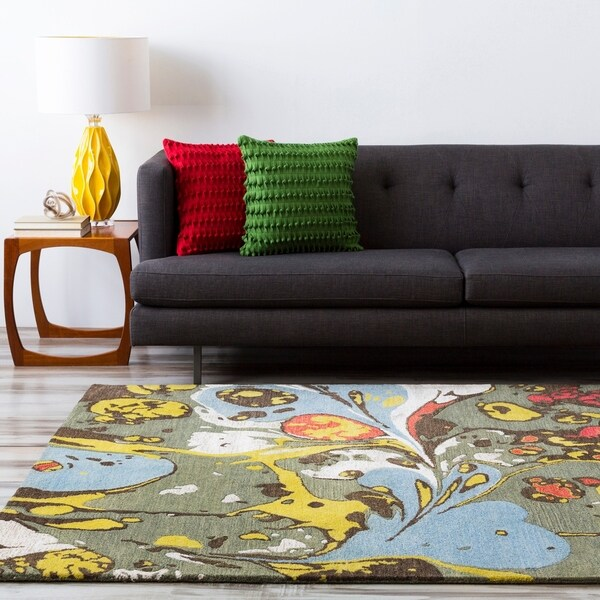Hand-tufted Contemporary Multi Colored Perro New Zealand Wool Abstract Area Rug - 5' x 8'
