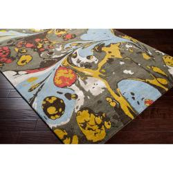 Hand-tufted Contemporary Multi Colored Perro New Zealand Wool Abstract Rug (3'3 x 5'3) - Thumbnail 1
