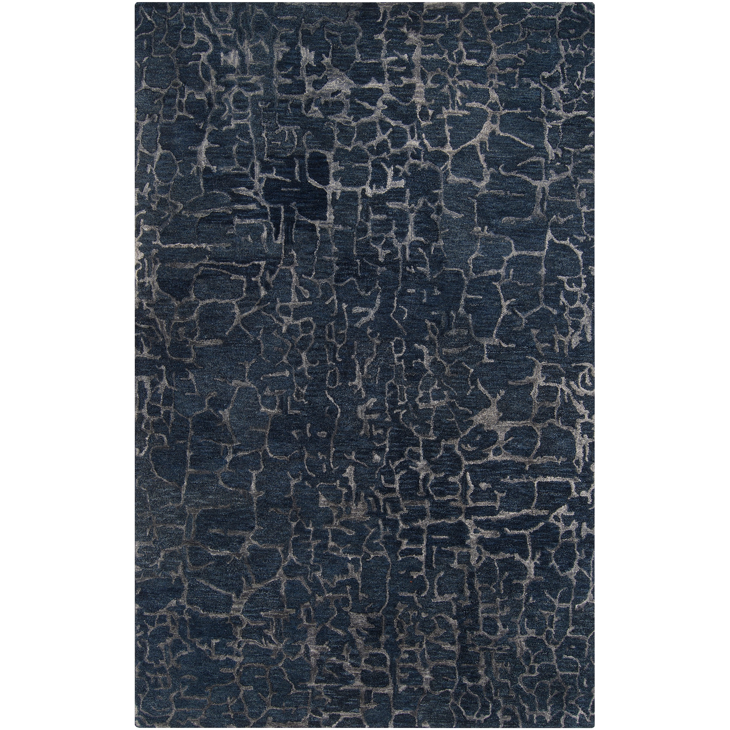 Silver Orchid Michel Hand-tufted Contemporary Blue Papillion New Zealand Wool Abstract Area Rug - 8' x 11'