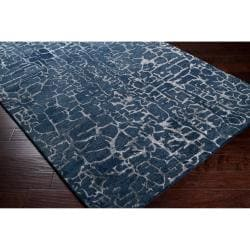 Hand-tufted Contemporary Blue Papillion New Zealand Wool Abstract Rug (5' x 8') - Thumbnail 1
