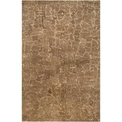 Hand-tufted Contemporary Beige Tolling New Zealand Wool Abstract Area Rug - 5' x 8' - Thumbnail 0