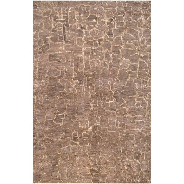 Hand-tufted Contemporary Beige Tolling New Zealand Wool Abstract Area Rug - 5' x 8'