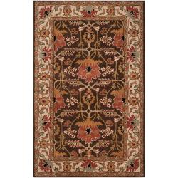 Hand-tufted Brown/Orange Traditional Bordered Maltese Wool Rug (8' x 11')