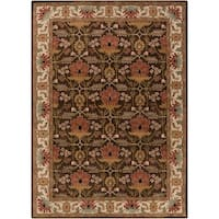Hand-tufted Brown/Orange Traditional Bordered Maltese Wool Area Rug - 8' X 11'