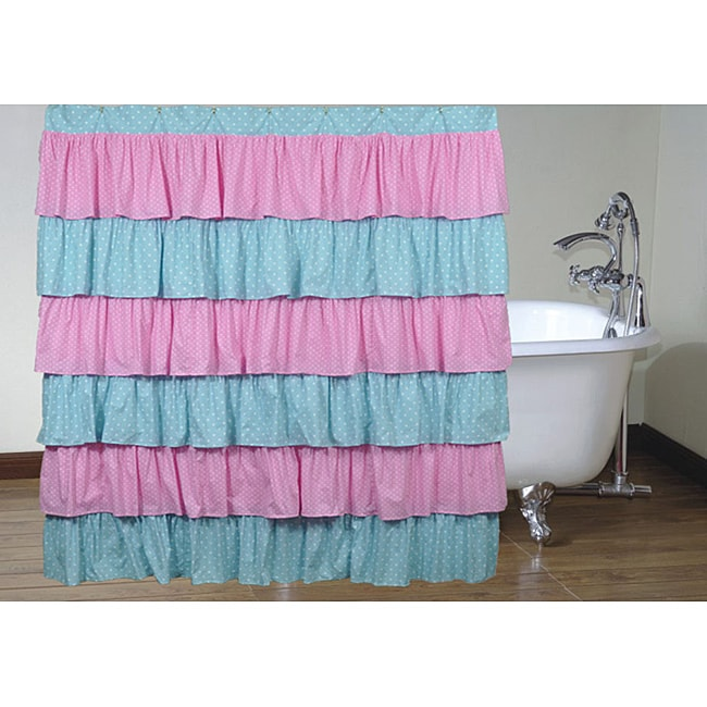 pink and blue polka dot ruffled shower curtain free shipping today 14112591. Black Bedroom Furniture Sets. Home Design Ideas
