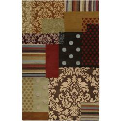 Hand-tufted Brown Grand Bleu Wool Area Rug (5' x 8') - Thumbnail 0
