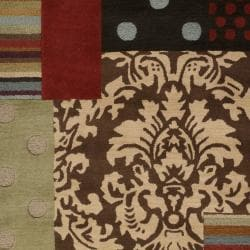 Hand-tufted Brown Grand Bleu Wool Rug (3'3 x 5'3)