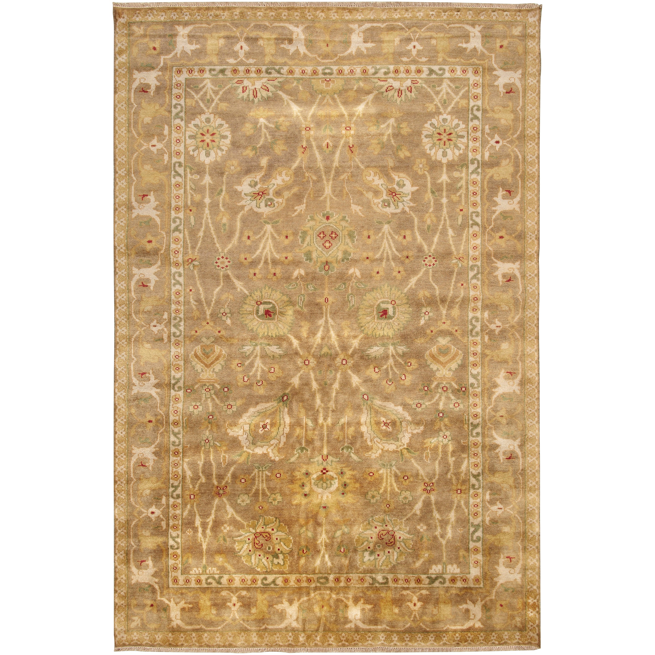 Hand-knotted Light Brown Antolya Semi-Worsted New Zealand Wool Rug (3'9 x 5'9)