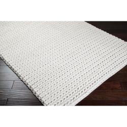 Hand-woven Ivory Badollet Braided Texture New Zealand Wool Rug (8' x 11') - Thumbnail 1