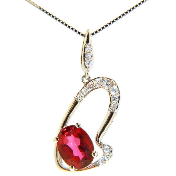 Pearlz Ocean Peony Pink Topaz and Cubic Zirconia Pendant Necklace