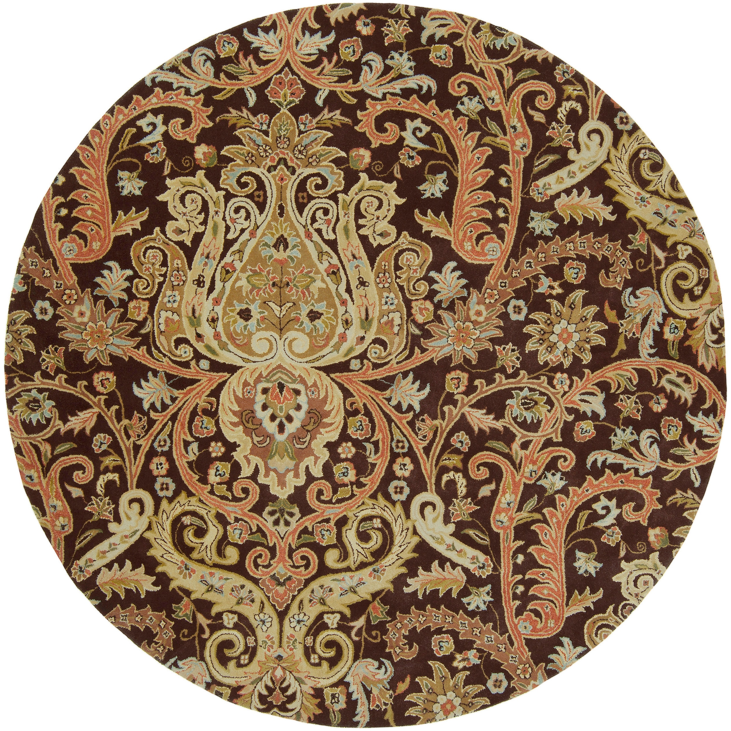Hand Tufted Agra Red Gold Wool Rug 8 Round: Hand-tufted Chocolate Aesir Semi-Worsted New Zealand Wool