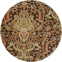 Hand-tufted Chocolate Aesir Semi-Worsted New Zealand Wool Rug (8' Round)
