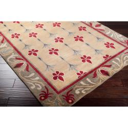 Hand-knotted Beige/Red Floral Bordered Afghan New Zealand Wool Rug (5' x 8')