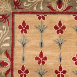 Hand-knotted Beige/Red Floral Bordered Afghan New Zealand Wool Rug (5' x 8') - Thumbnail 2