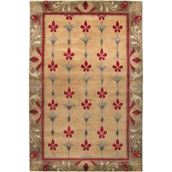 Hand-knotted Beige/Red Floral Bordered Afghan New Zealand Wool Area Rug (5' x 8') - 5' x 8' - Thumbnail 0