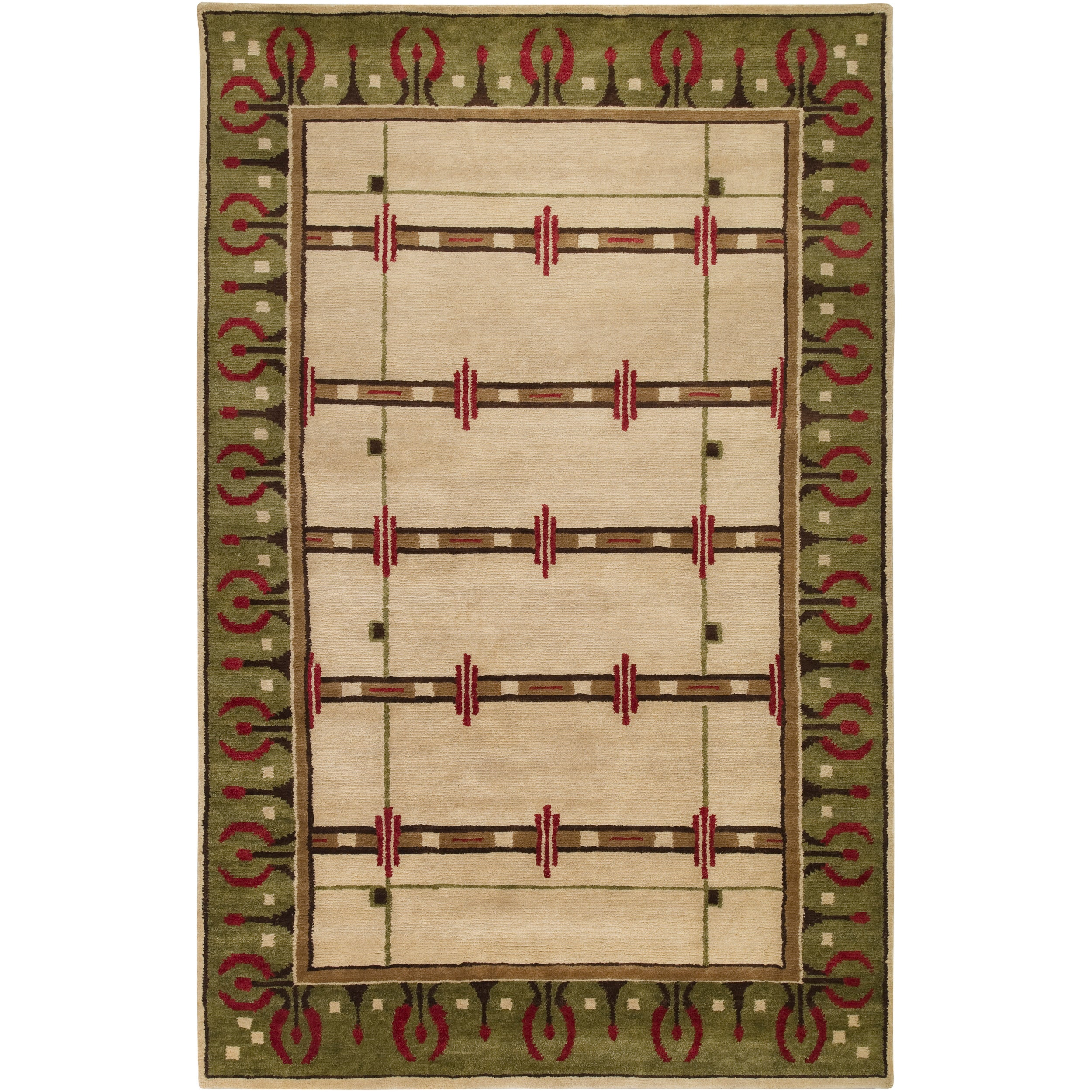 Hand-knotted Green Novelty Airedle New Zealand Wool Rug (5' x 8')