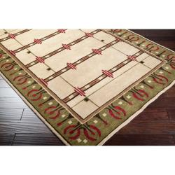 Hand-knotted Green Novelty Airedle New Zealand Wool Rug (5' x 8') - Thumbnail 1