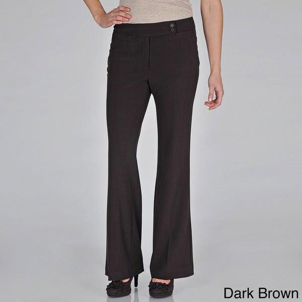 SALE Women/'s Plus Size Straight Leg Trousers Pant Career Two Button Closure