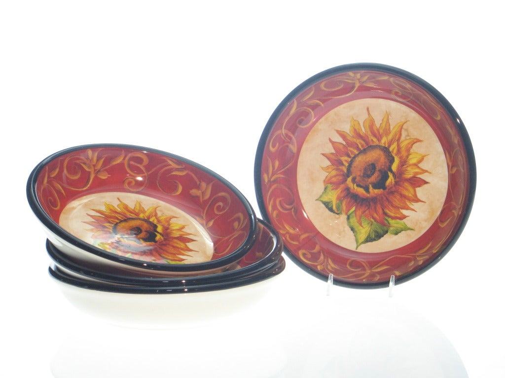 Certified International 'Tuscan Sunflower' 9.5-inch Soup Bowls (Set of 4)