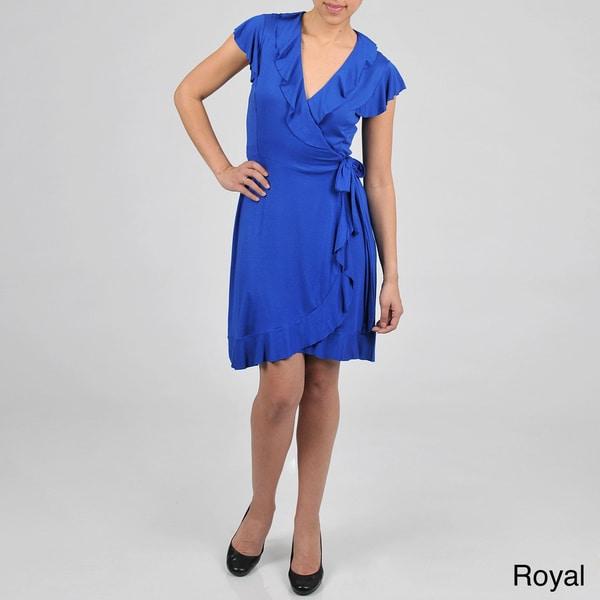 Tiana B. Women's Ruffle Detail Wrap Dress
