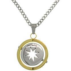 Carolina Glamour Collection Stainless Steel Two-Tone Spinning Star Circle Pendant