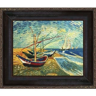 Vincent Van Gogh 'Boats At St. Marie's' Hand-painted Framed Canvas Art