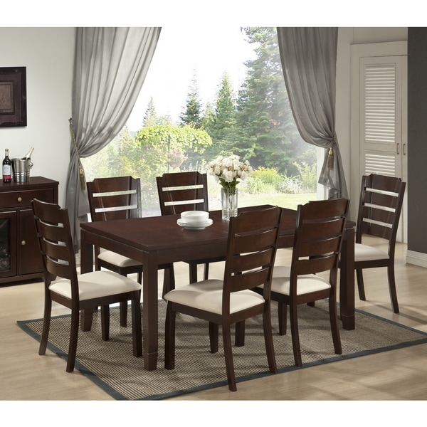 Victoria 7 Piece Modern Wood Dining Set Free Shipping