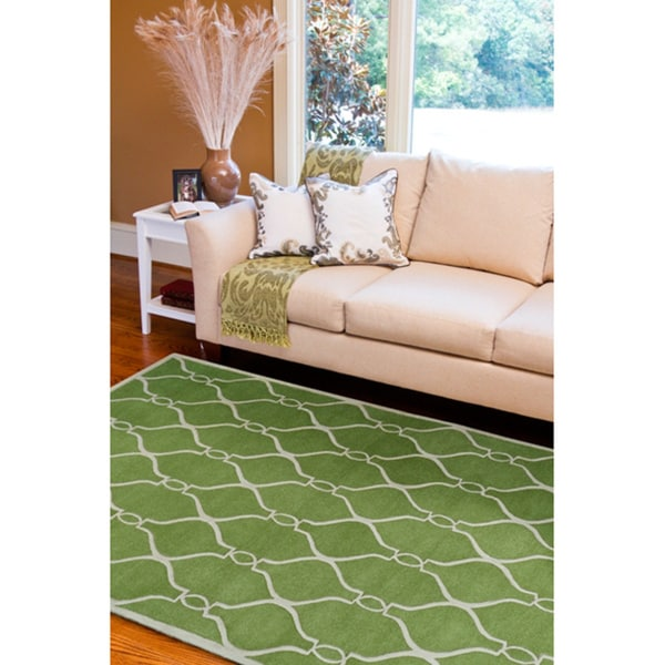 Hand-tufted Green Zipa Geometric Trellis Wool Area Rug (5' x 8')