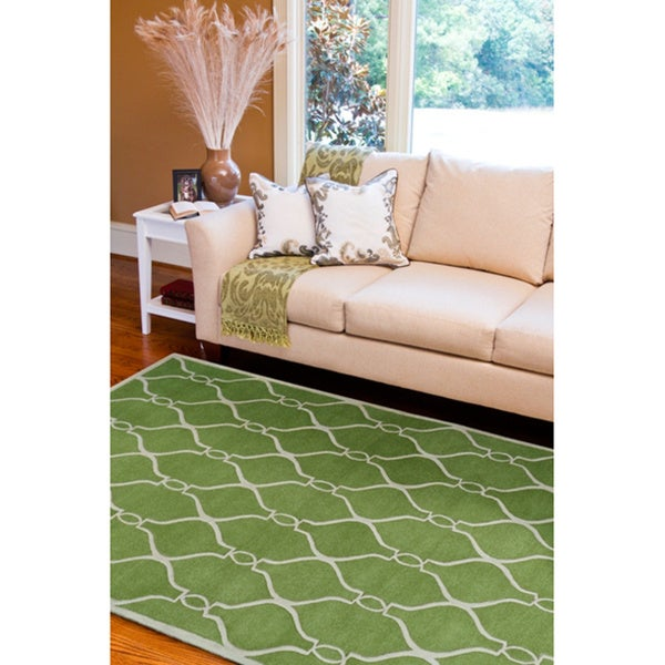 Hand-tufted Green Zipa Geometric Trellis Wool Rug (5' x 8')