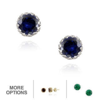 Icz Stonez Sterling Silver Lab-created Sapphire Stud Earrings (2.1ct TGW)