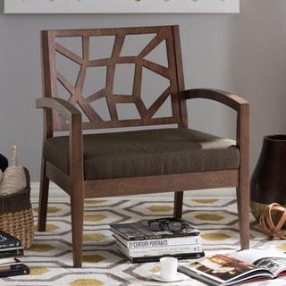 Baxton Studio Jennifer Dark Brown Wood Modern Lounge Chair with Fabric Seat